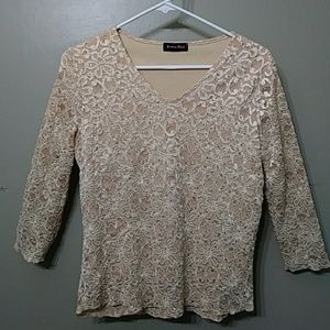 Sparkly Gold Floral Blingy Top